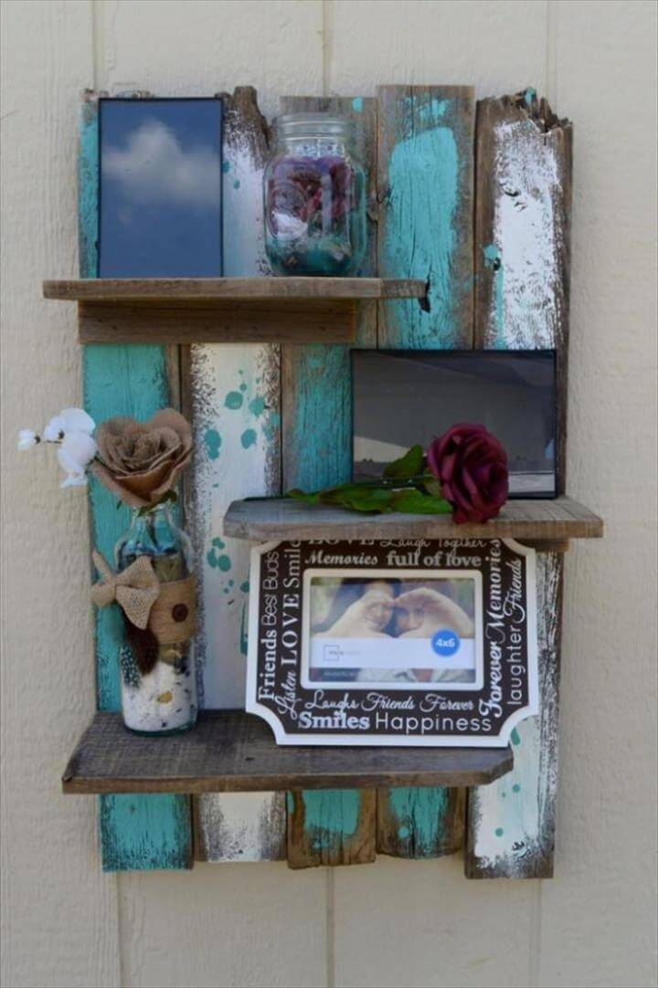 DIY Shelves and Do It Yourself Shelving Ideas - Simple Rustic Pallet Wall Shelf - Easy