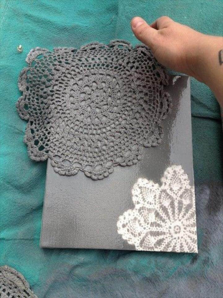 Use a doily and spray paint