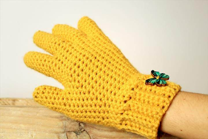 Yellow Crochet Gloves