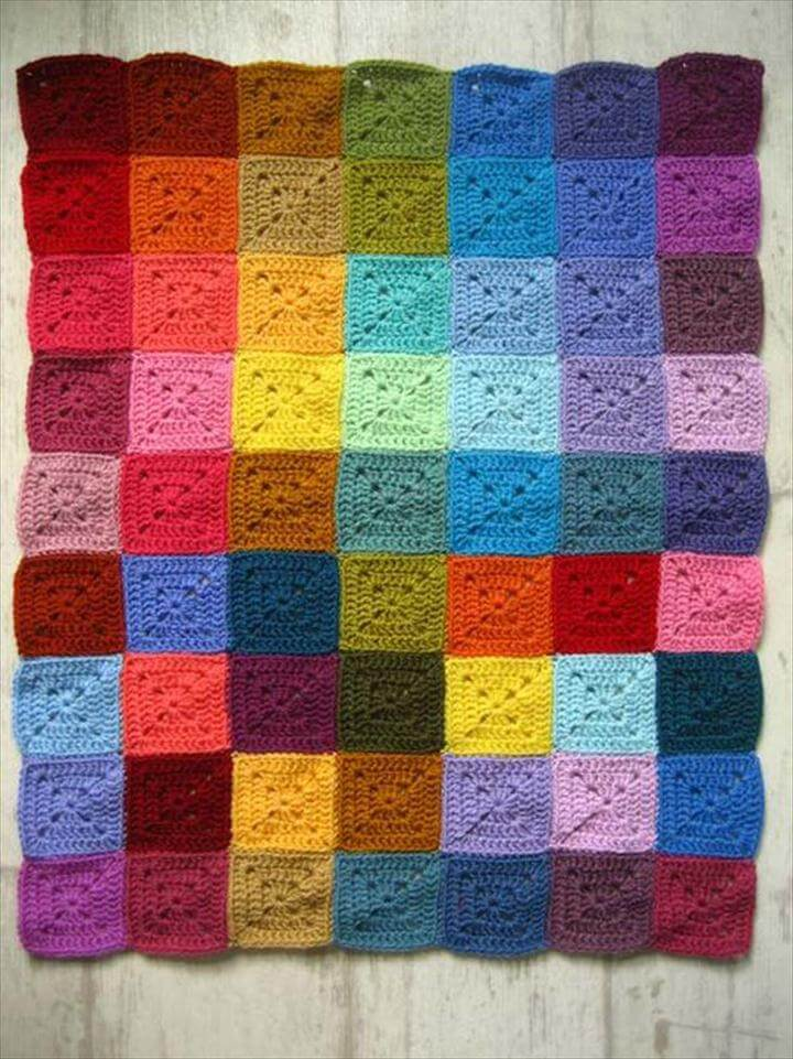 Best DIY Rainbow Crafts Ideas - Solid Granny Square - Fun DIY Projects With Rainbows Make
