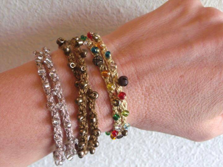 crochet a beaded bracelet or wrist .
