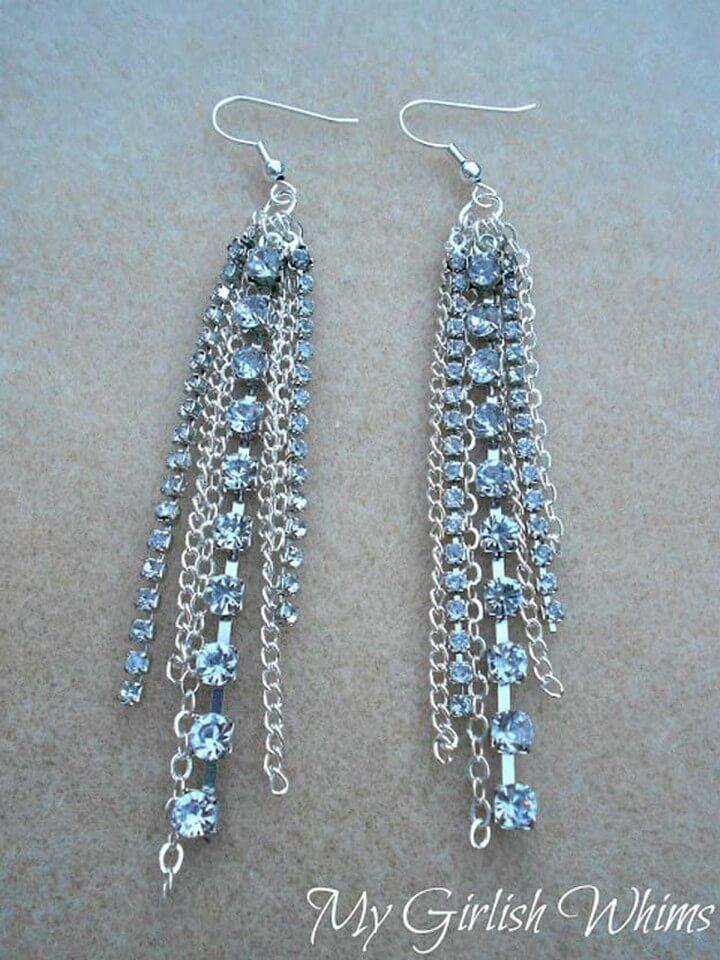 DIY Chain Rhinestone Earrings