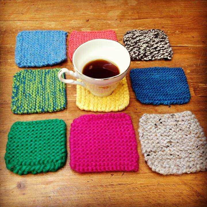 crochet coastres, colorful coasters