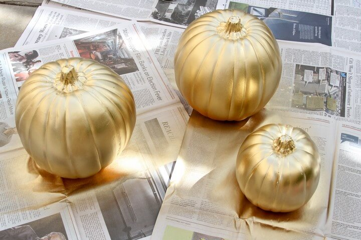 DIY Gold Pumpkins