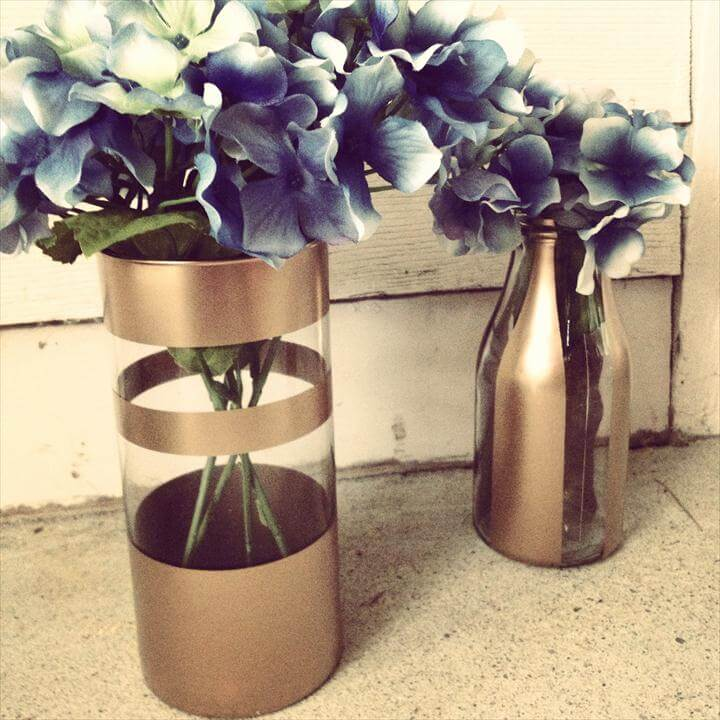DIY gold spray painted vases with fake flowers