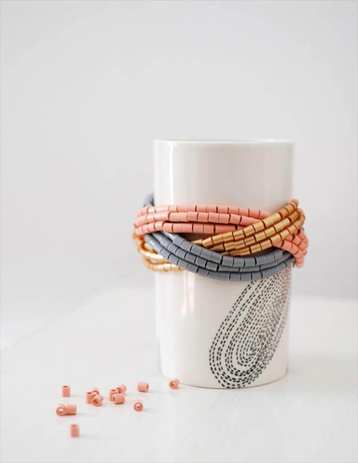 Simple Homemade Cuff DIY Beaded Bracelet