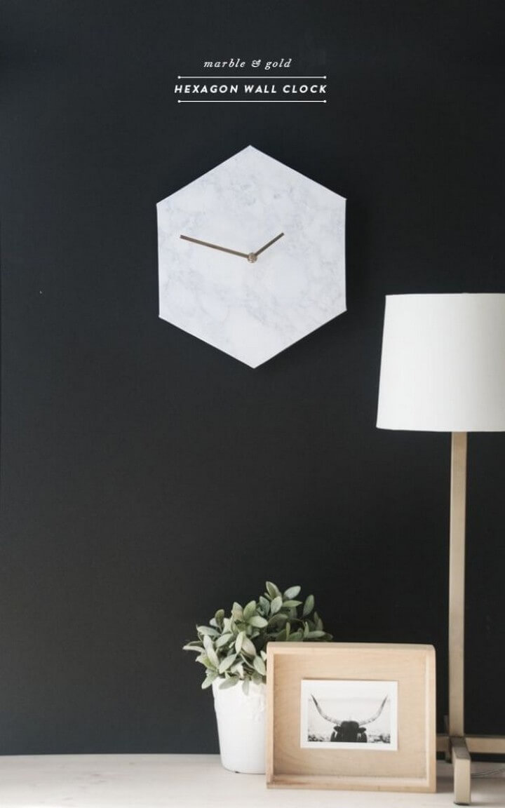 DIY Hexagon Marble Wall Clock