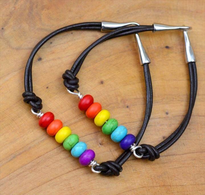 leather braclet, diy colorful bracelet, rainbow leather barcelet