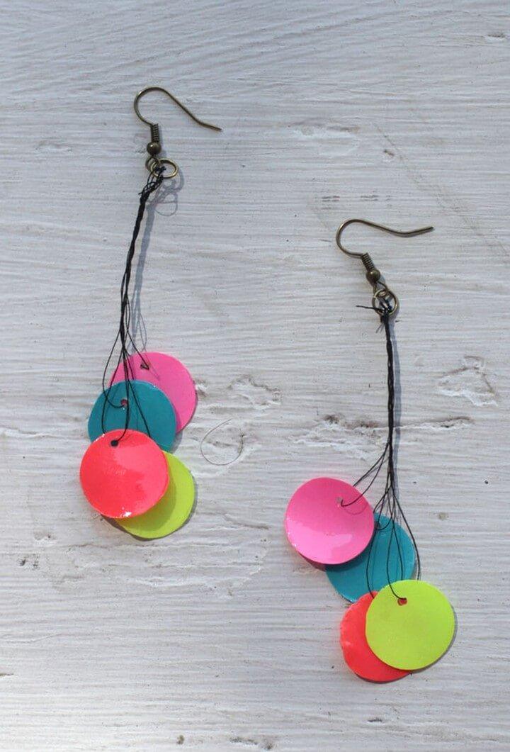 DIY Neon Paper Bead Earrings