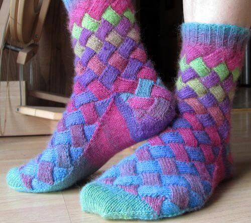 DIY Rainbow Color Patch Knitted Socks