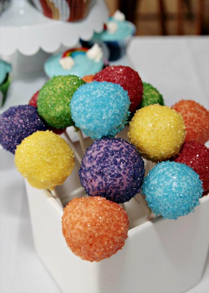 Rainbow Colored Cake Pops For Kids Party, Colorful Candy Melts, Rainbow Party.