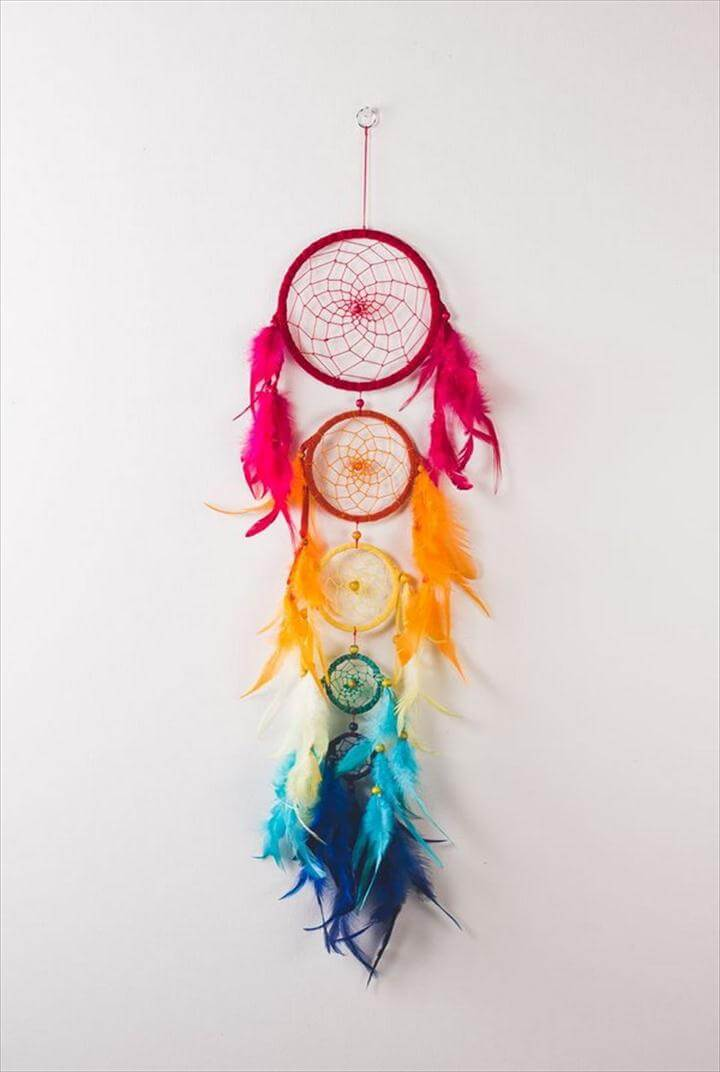 DIY Rainbow Five Tier Dream Catcher