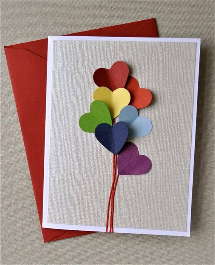 rainbow heart balloon, blank card