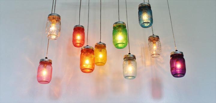 Diy rainbow mason jar chandelier