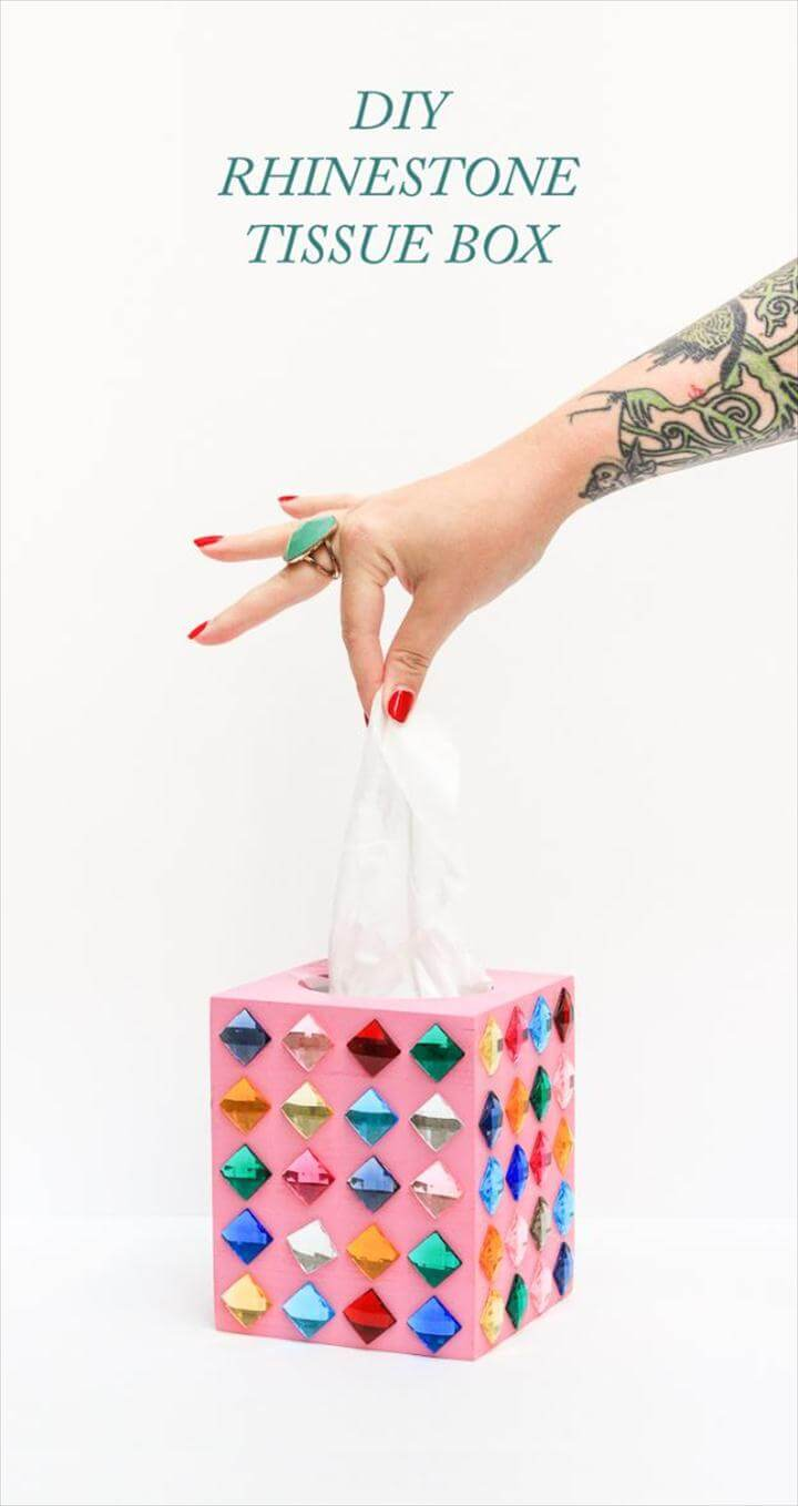 Cheap Crafts for Teens - DIY Rhinestone Tissue Box - Inexpensive DIY Projects for Teenagers and