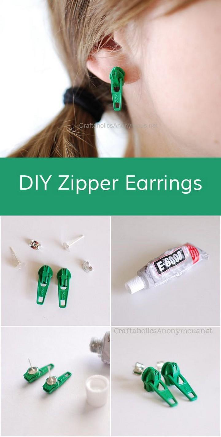 DIY Zipper Earring