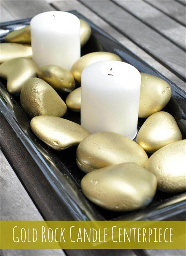 DIY Home Decor Projects: Rock Candle Centerpiece
