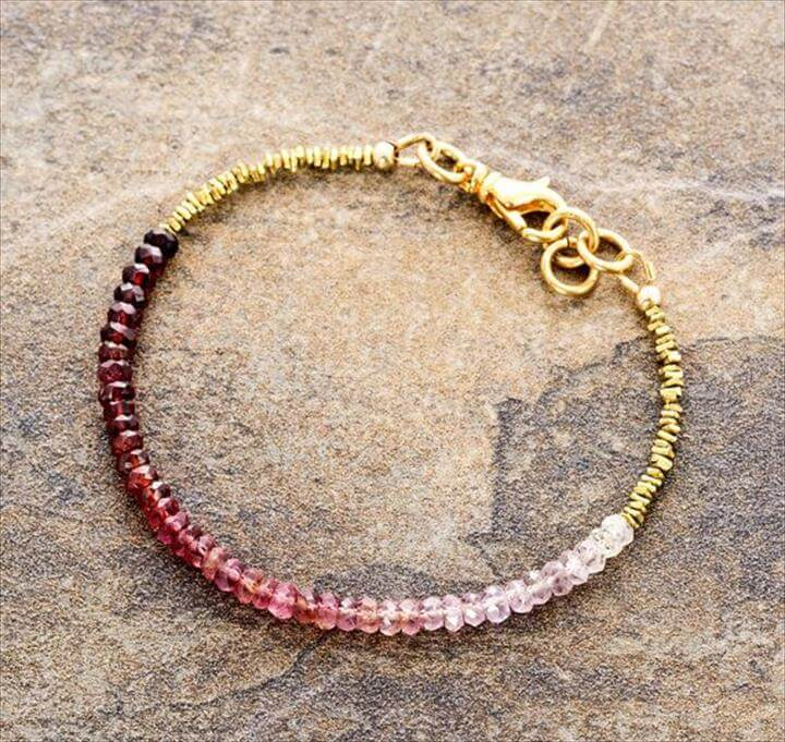 Ombre white to marsala red spinel bracelet, Karen Hill Tribe brass, minimal bracelet,