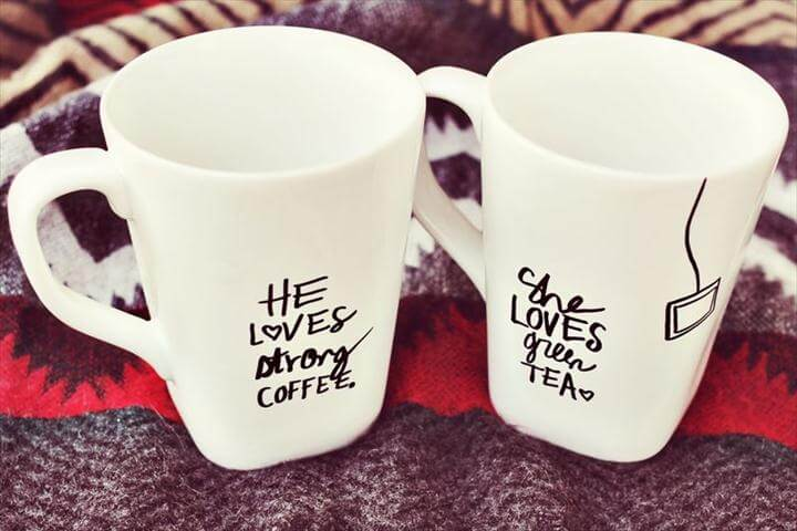 His & Her Sharpie Mug DIY