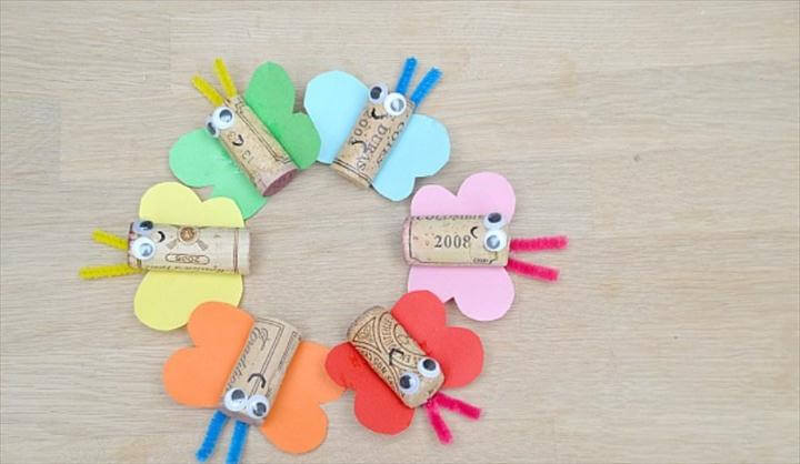 Lovely DIY Rainbow Butterfly Cork Craft To Try With Kids