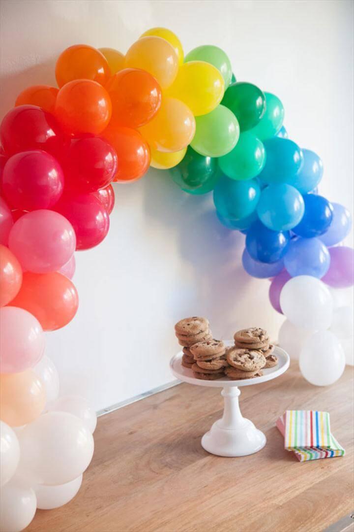 mini rainbow balloon arch