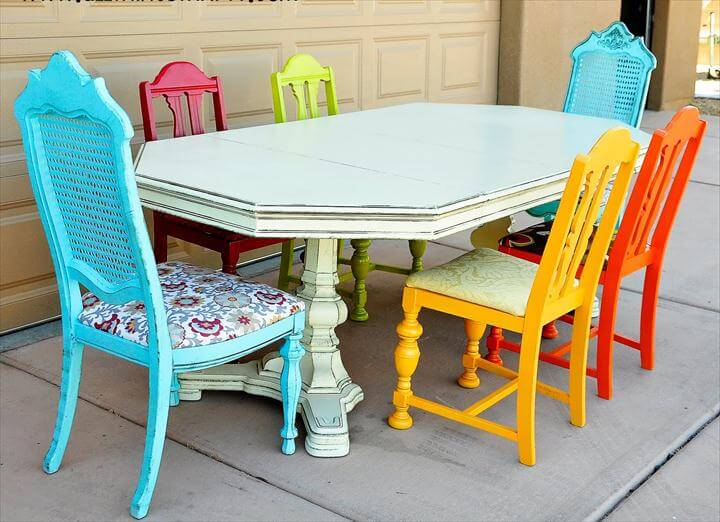 Rainbow Dining Room Chairs from All Things Thrifty