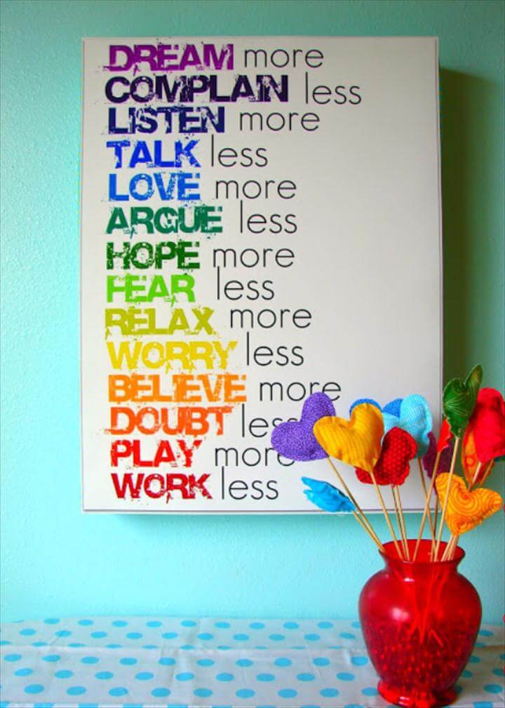 42 DIY Room Decor for Girls - Rainbow Text Wall Art - Awesome Do It Yourself