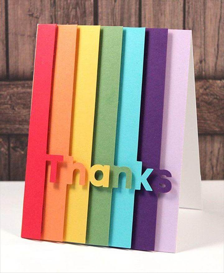 Rainbow thank you DIY card