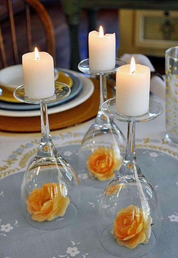 DIY Wedding Centerpieces - Upside Down Wine Glass Wedding Centerpiece - Do It Yourself Ideas for