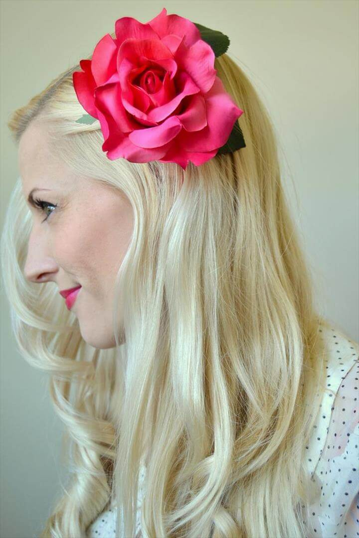 flower hair clip, diy hair clip, diy clip tutorial
