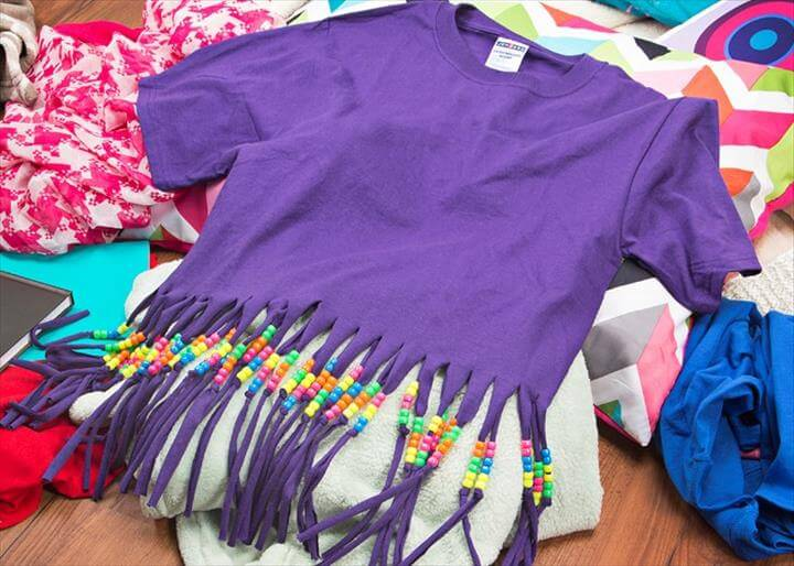 Beaded Fringe DIY T-Shirt