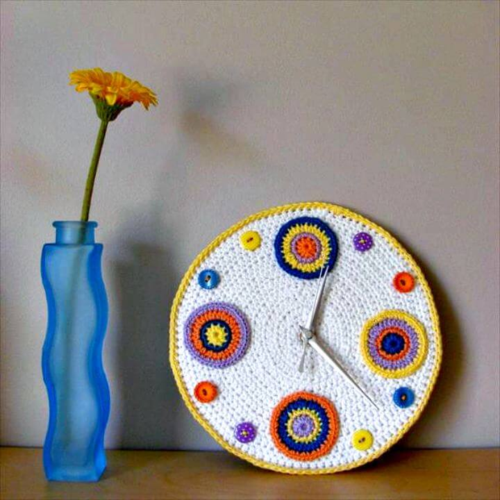 diy crochet pattern, diy projects, diy clock crochet, diy pattern idea