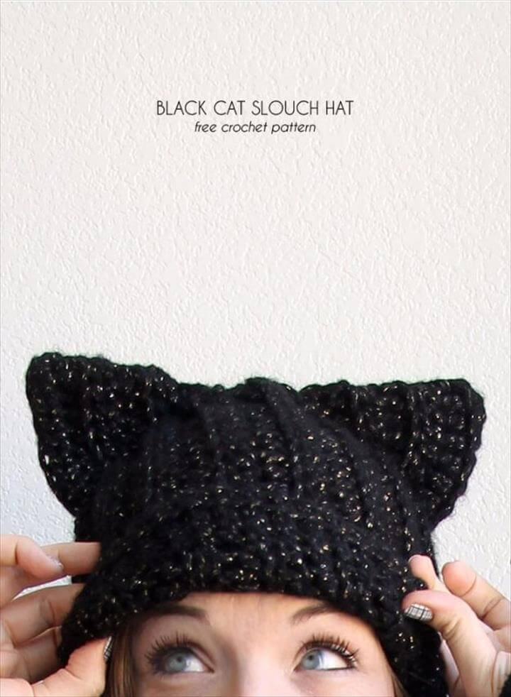 DIY Ideas With Cats - Black Cat Slouch Hat - Cute and Easy DIY Projects for