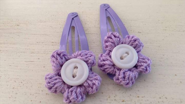 Crochet Flower Hair Clips - DIY Style Tutorial