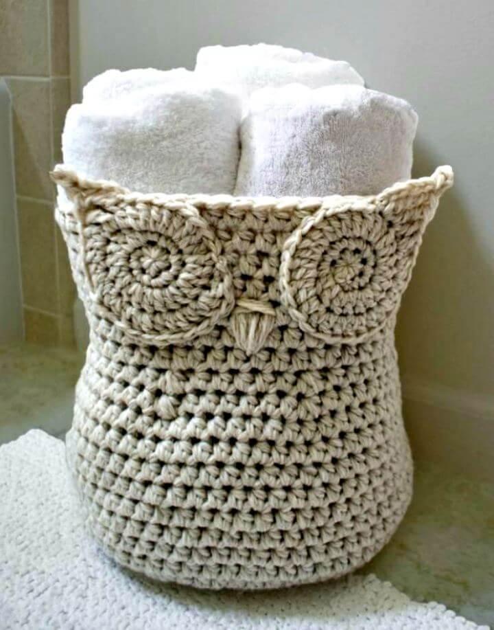 diy crafts, diy crochet, diy basket crochet, diy owl basket crochet