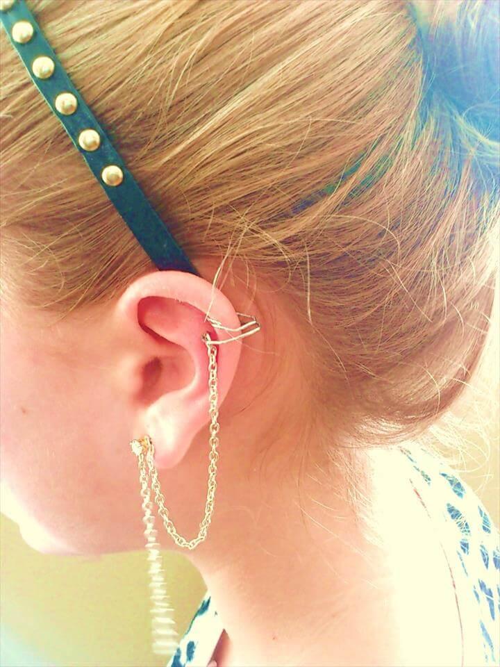 DIY Chained Ear Cuff