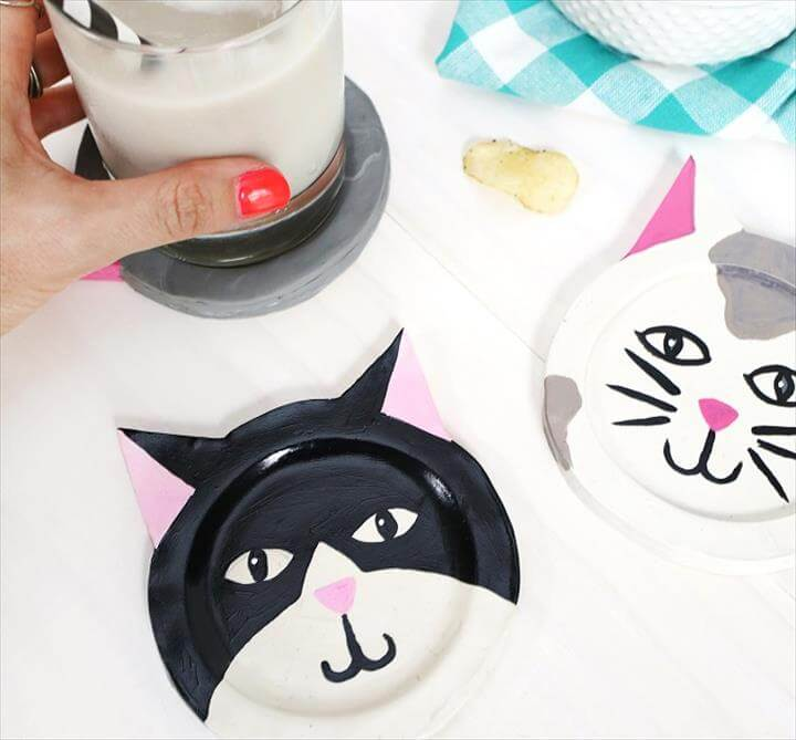 DIY cat coasters, space saving idea
