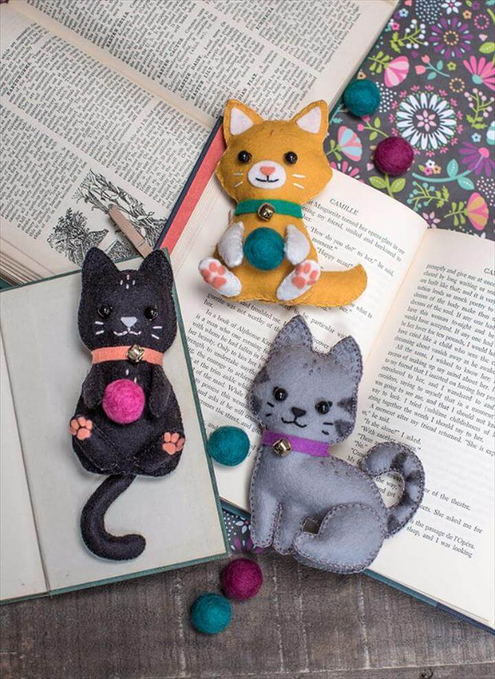 DIY Ideas With Cats - DIY Felt Craft Kittens - Cute and Easy DIY Projects for