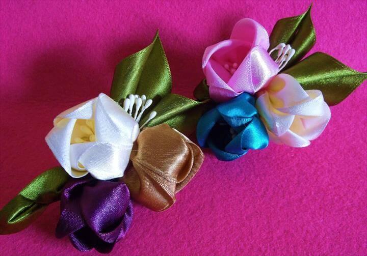 Kanzashi inspired Satin Tulip Flower Hair Clips
