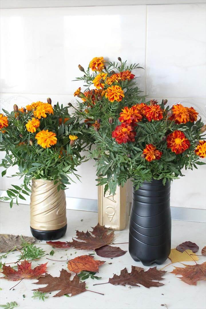 DIY flower vase out of plastic bottles