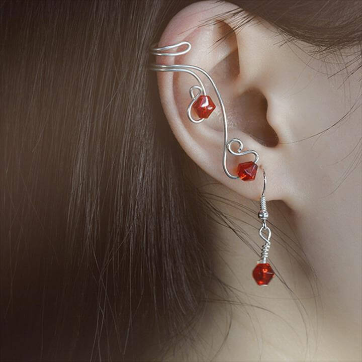 DIY Wire Wrapped Earring and Ear Cuff with Red Glass Beads