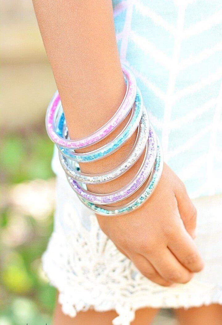 DIY Glitter Vinyl Tube Bracelets Tutorial