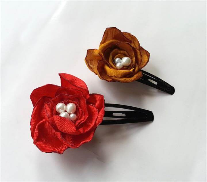 DIY Satin Flower Hair Clips
