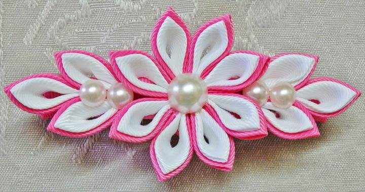 DIY kanzashi flower hairclip, kanzashi flower tutorial