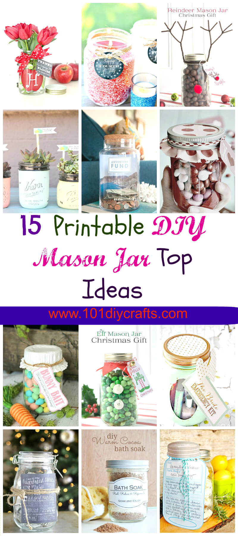 15 DIY Printable Mason Jar Top Ideas
