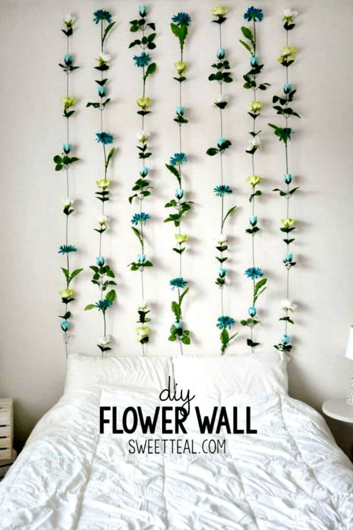 DIY flowers wall, Wall decor idea, flower idea, room decor flowers, home decor, diy crafts, do it yourself