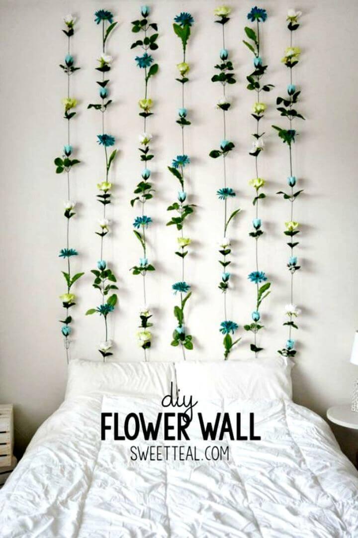 DIY flowers wall, Wall decor idea, flower idea, room decor flowers, home decor, diy crafts, do it yourself