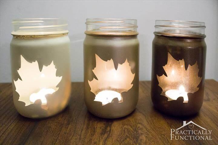 leaf mason jar candle holder
