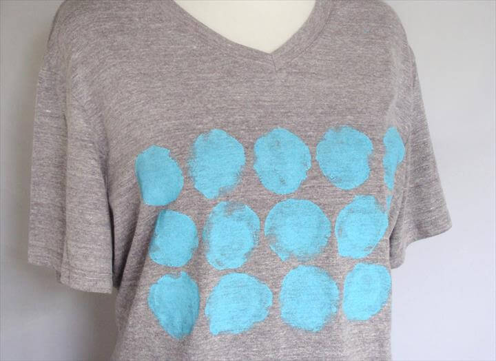 Refashioned t-shirt with hand painted fabric design