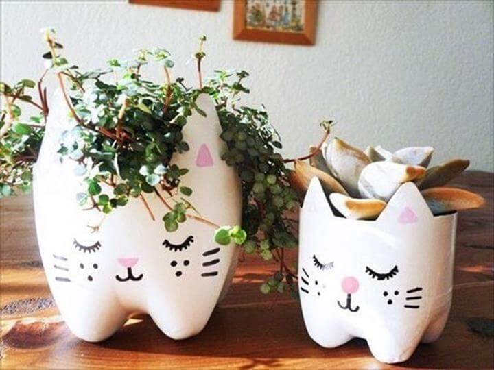 DIY Cutest Cat Planter from Plastic Bottles
